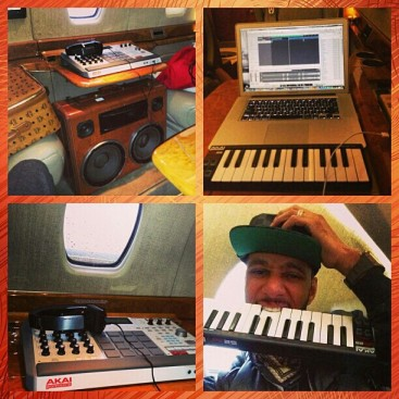 Swizz Beatz in Studio Air Plane Akai BoomCase